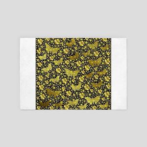gold, golden, flowers, stars, butterfl 4' x 6' Rug