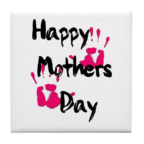 Happy Mother's Day (Pink Handprints) Tile Coaster