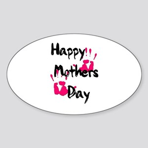 Happy Mother's Day (Pink Handprints) Sticker (Oval