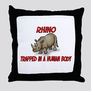 Rhino trapped in a human body Throw Pillow