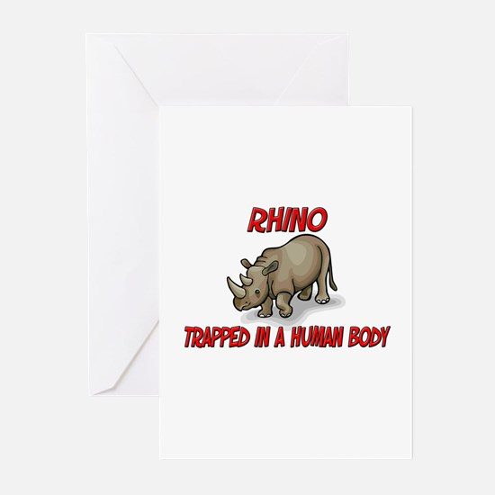 Rhino trapped in a human body Greeting Cards (Pk o