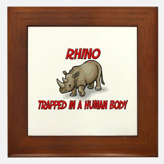 Rhino trapped in a human body Framed Tile