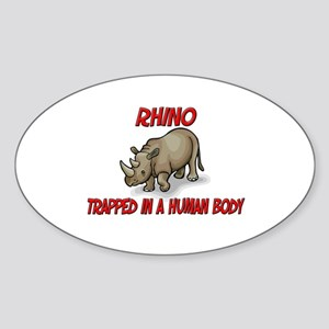 Rhino trapped in a human body Oval Sticker