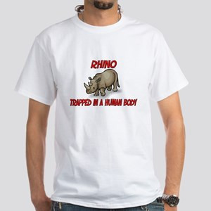 Rhino trapped in a human body White T-Shirt