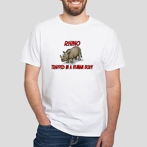 Rhino trapped in a human body White T-Shirt