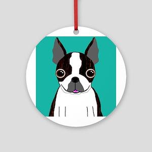 Boston Terrier (Dark Brindle) Ornament (Round)