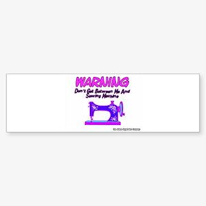 Warning Sewing Machine Bumper Sticker