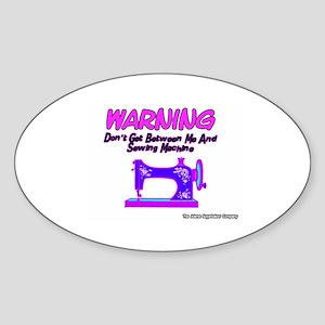 Warning Sewing Machine Oval Sticker