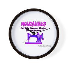 Warning Sewing Machine Wall Clock
