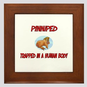 Pinniped trapped in a human body Framed Tile