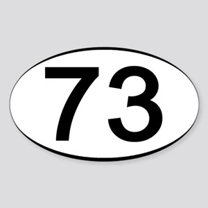 Number 73 Oval Rectangle Sticker