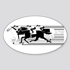 HORSE RACING! Oval Sticker