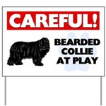 Careful Bearded Collie Yard Sign