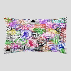 Vintage Passport Stamps Pillow Case