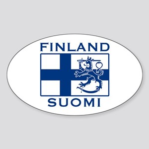 Finland Suomi Flag Oval Sticker