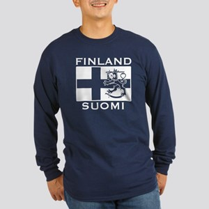 Finland Suomi Flag Long Sleeve Dark T-Shirt
