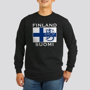 Finland Suomi Flag Long Sleeve Dark T-Shirt