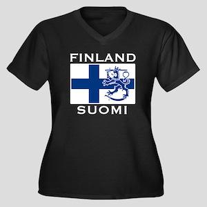 Finland Suomi Flag Women's Plus Size V-Neck Dark T