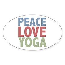 Peace Love Yoga Oval Sticker