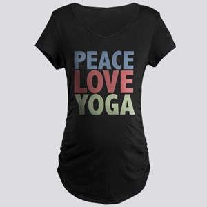Peace Love Yoga Maternity Dark T-Shirt