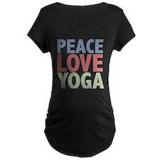 Peace Love Yoga Maternity Dark T-Shirt