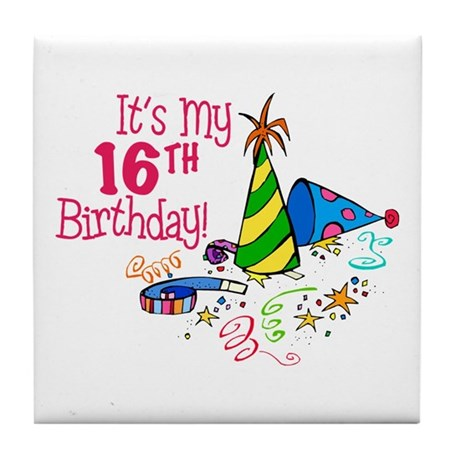 It's My 16th Birthday (Party Hats) Tile Coaster
