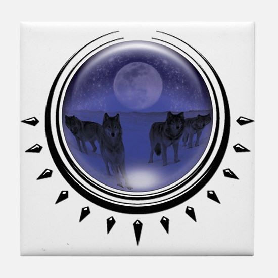 Wolf Orb Blue Tile Coaster