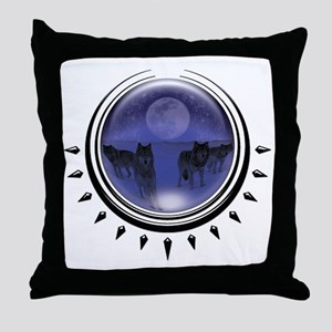 Wolf Orb Blue Throw Pillow