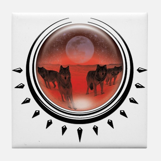 Wolf Orb Red Tile Coaster