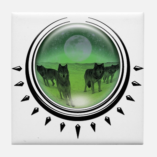 Wolf Orb Green Tile Coaster