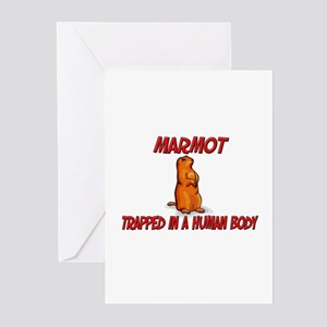 Marmot trapped in a human body Greeting Cards (Pk