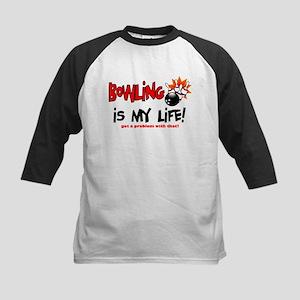 Bowling is my Life! Kids Baseball Jersey