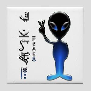 Alien Peace Dude 2 Tile Coaster
