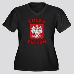 Tulsa Women's Plus Size V-Neck Dark T-Shirt