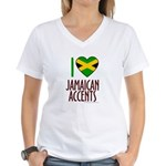 I love Jamaican Accents Women's V-Neck T-Shirt