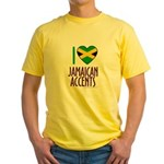 I love Jamaican Accents Yellow T-Shirt