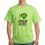 I love Jamaican Accents Green T-Shirt