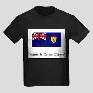 Turks & Caicos Island Flag Kids Dark T-Shirt