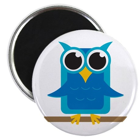 "Blue Owl on Branch 2.25"" Magnet (100 pack)"