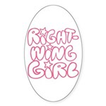 Right-Wing Girl Oval Sticker