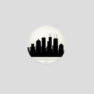 chicago skyline Mini Button