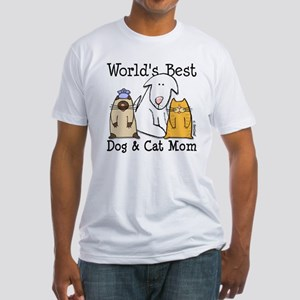 World's Best Dog & Cat Mom Fitted T-Shirt