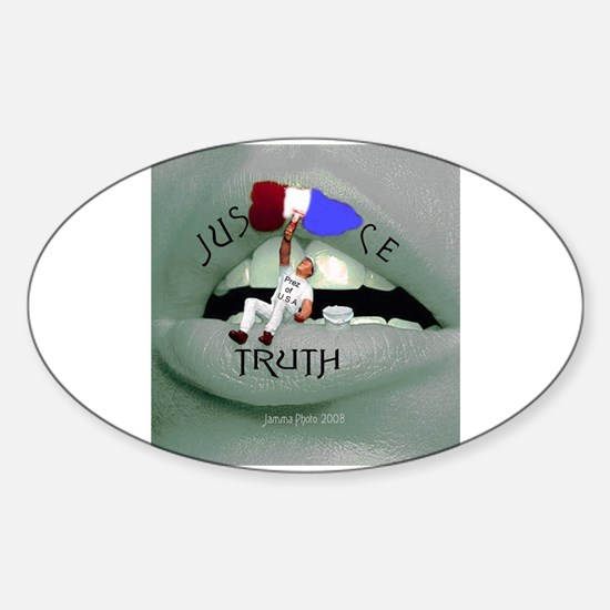 Justice v. Truth Oval Decal