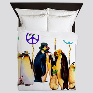 Penguins For Peace Queen Duvet