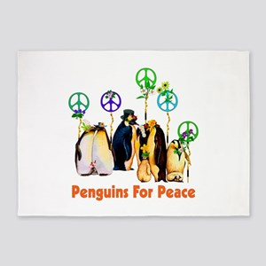 Penguins For Peace 5'x7'Area Rug