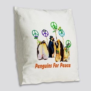 Penguins For Peace Burlap Throw Pillow