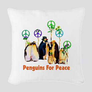 Penguins For Peace Woven Throw Pillow