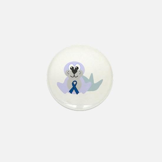 Blue Awareness Ribbon Goofkins Seal Mini Button