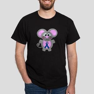 Blue Awareness Ribbon Goofkins Mouse Dark T-Shirt