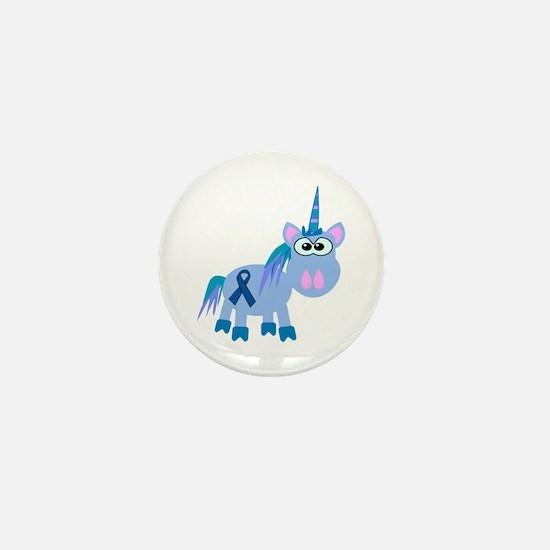 Blue Awareness Ribbon Goofkins Unicorn Mini Button